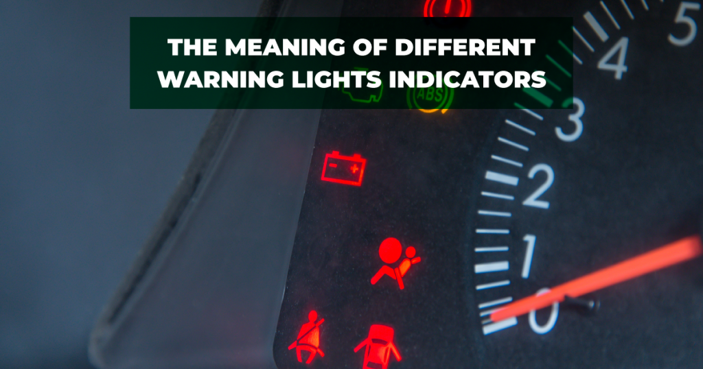 Dashboard with various warning lights