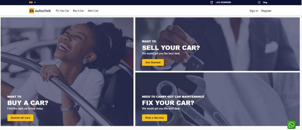 Screenshot - Autochek Ghana website