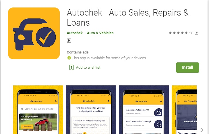 Screenshot of Autochek App